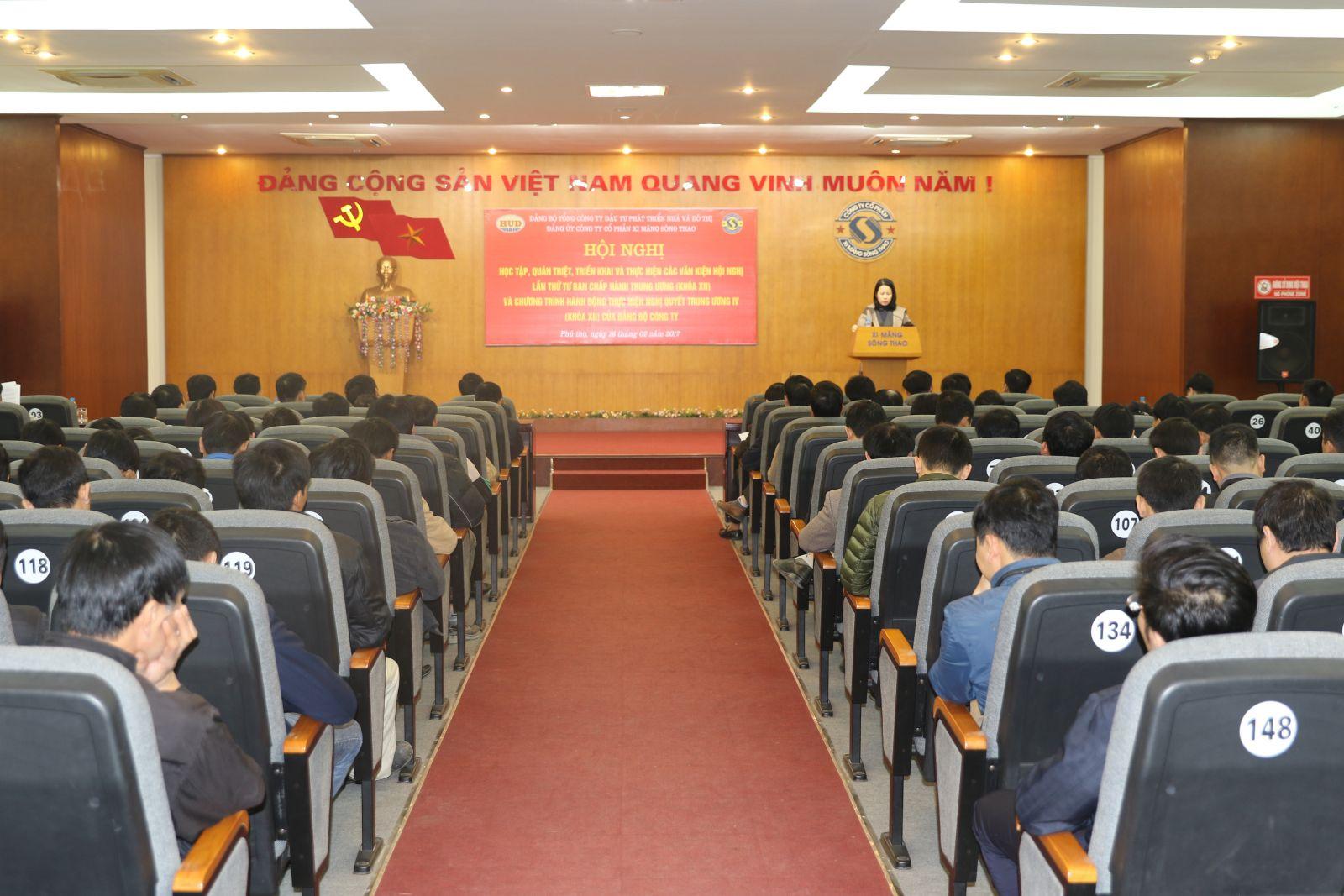 Đảng ủy Công ty cổ phần xi măng Sông Thao tổ chức Hội nghị học tập, quán triệt triển khai Nghị quyết Hội nghị Trung ương 4 khóa XII